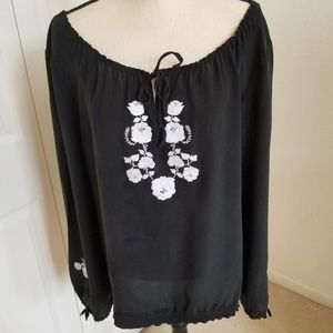 White House/Black Market Silk Embroidered  Blouse